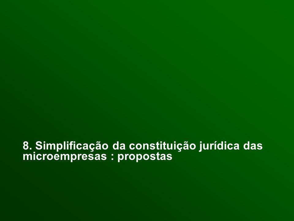 8. Simplificação da constituição jurídica das microempresas : propostas