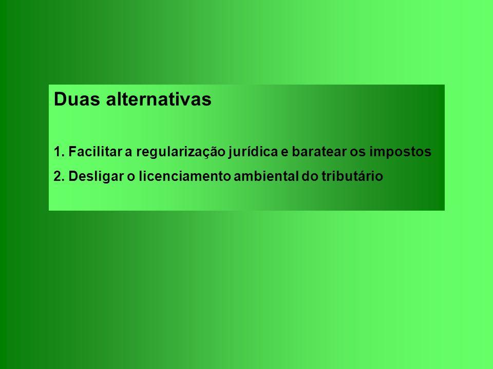 Duas alternativas 1. Facilitar a regularização jurídica e baratear os impostos 2. Desligar o licenciamento ambiental do tributário