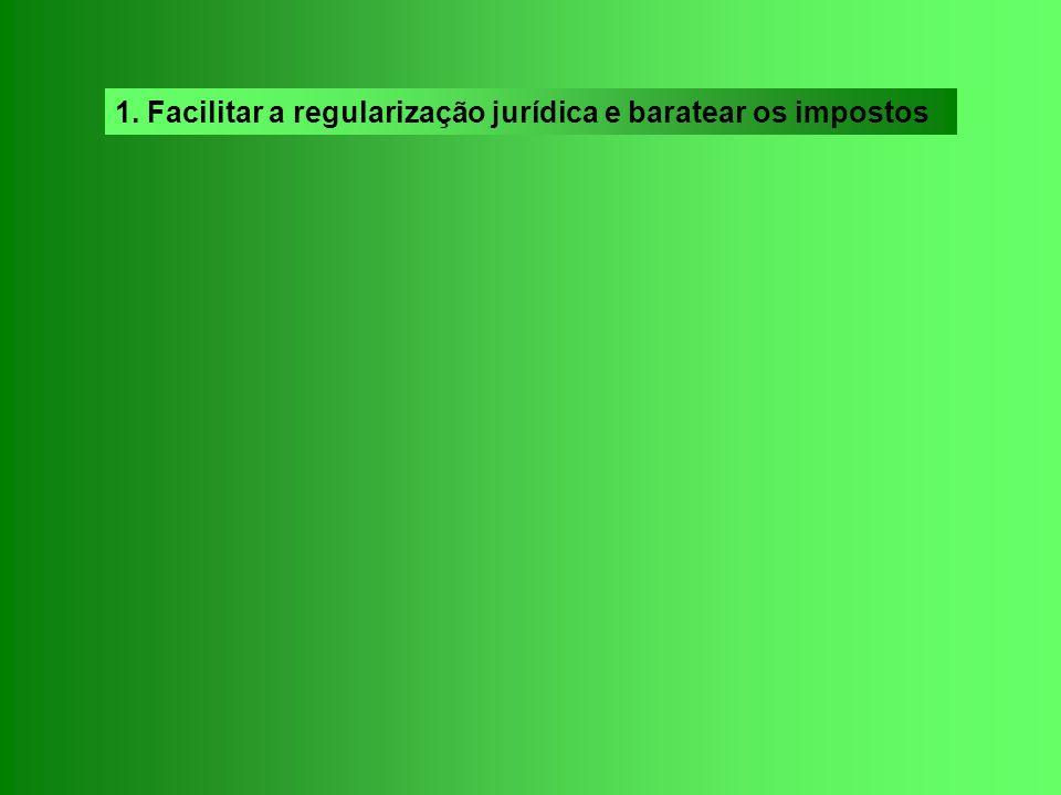 1. Facilitar a regularização jurídica e baratear os impostos