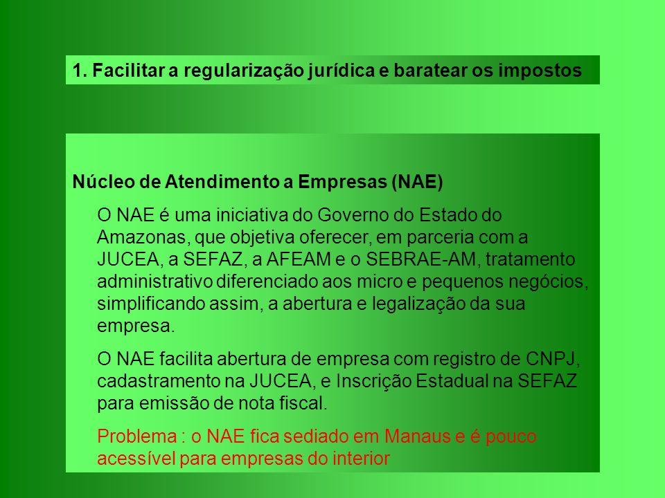 Núcleo de Atendimento a Empresas (NAE) O NAE é uma iniciativa do Governo do Estado do Amazonas, que objetiva oferecer, em parceria com a JUCEA, a SEFA
