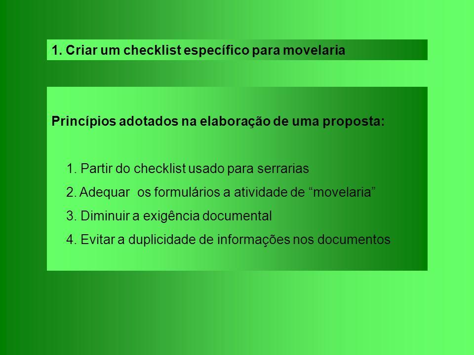 Princípios adotados na elaboração de uma proposta: 1. Partir do checklist usado para serrarias 2. Adequar os formulários a atividade de movelaria 3. D