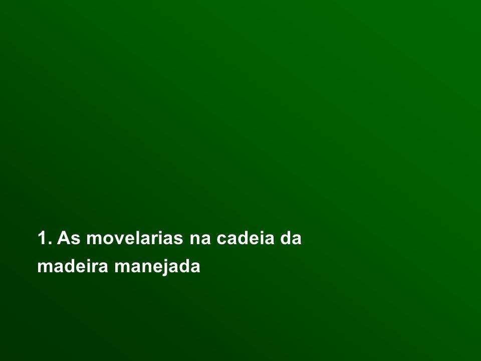 Interior 300 movelarias (30 municípios x 10 movelarias) 1 200 familias diretamente envolvidas (4 funcionários / movelaria) 25 000 m3 por ano (6 a 7 m3 / movelaria / mês) Manaus 200 movelarias (sem contar entrepostos, e grandes serrarias) 1 000 familias diretamente envolvidas (1 a 10 funcionários / movelaria) 15 000 m3 por ano (6 a 7 m3 / movelaria / mês) As movelarias no Amazonas : > 500 movelarias = 2 500 familias diretamente envolvidas nas movelarias > 40 000 m3 por ano = 10% da produção anual do Estado = produção de 1 000 a 2 000 PMFSPE (20 a 40 m3 / PM / por ano) = 4 000 a 8 000 familias envolvidas na exploração Um setor que envolve 6 000 a 10 000 familias
