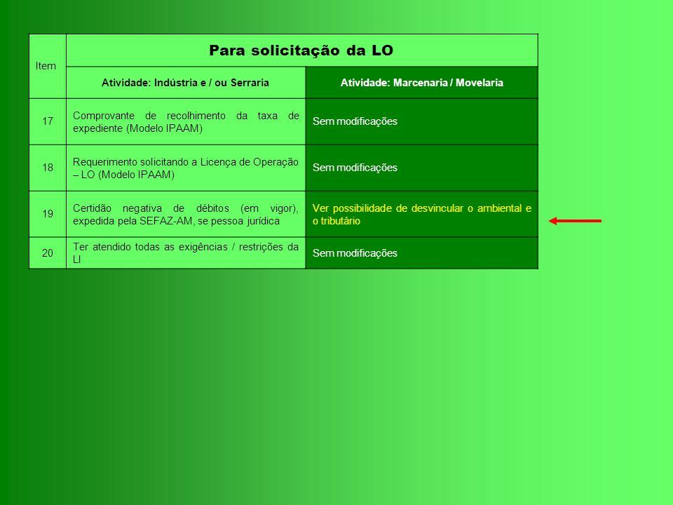 Item Para solicitação da LO Atividade: Indústria e / ou SerrariaAtividade: Marcenaria / Movelaria 17 Comprovante de recolhimento da taxa de expediente