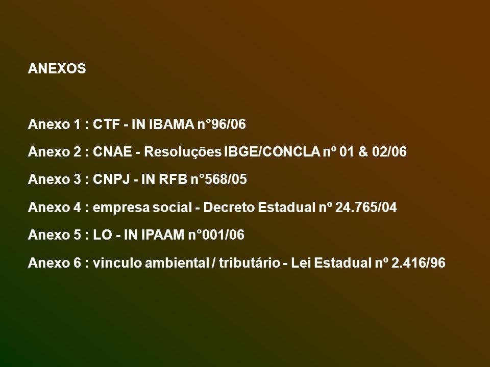 ANEXOS Anexo 1 : CTF - IN IBAMA n°96/06 Anexo 2 : CNAE - Resoluções IBGE/CONCLA nº 01 & 02/06 Anexo 3 : CNPJ - IN RFB n°568/05 Anexo 4 : empresa socia