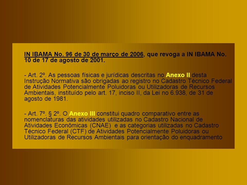 IN IBAMA No. 96 de 30 de março de 2006, que revoga a IN IBAMA No. 10 de 17 de agosto de 2001. - Art. 2º. As pessoas físicas e jurídicas descritas no A