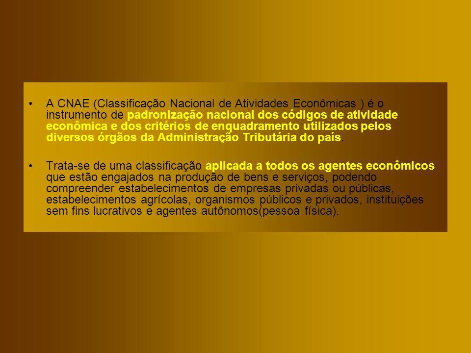 A CNAE (Classificação Nacional de Atividades Econômicas ) é o instrumento de padronização nacional dos códigos de atividade econômica e dos critérios