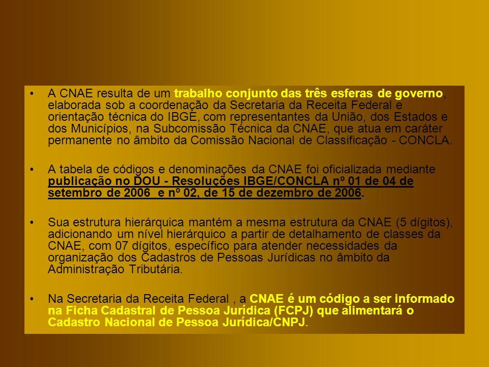 A CNAE resulta de um trabalho conjunto das três esferas de governo, elaborada sob a coordenação da Secretaria da Receita Federal e orientação técnica