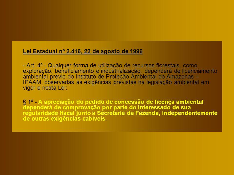 Lei Estadual nº 2.416, 22 de agosto de 1996 - Art. 4º - Qualquer forma de utilização de recursos florestais, como exploração, beneficiamento e industr