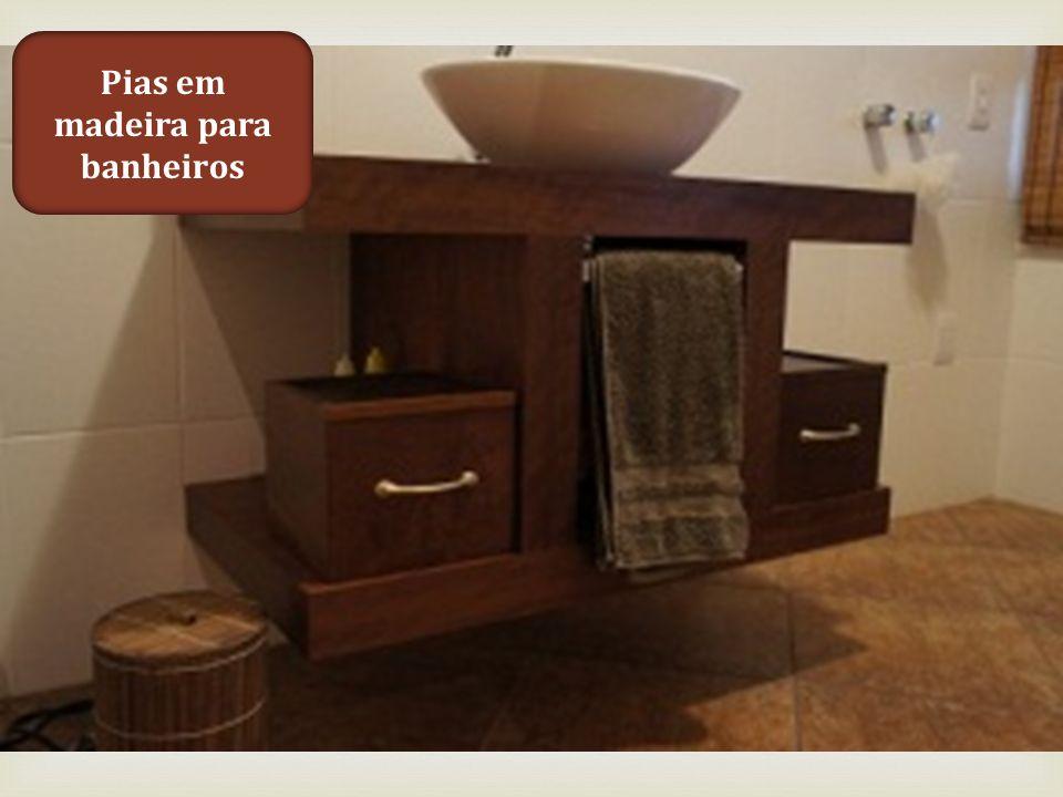 Pias em madeira para banheiros