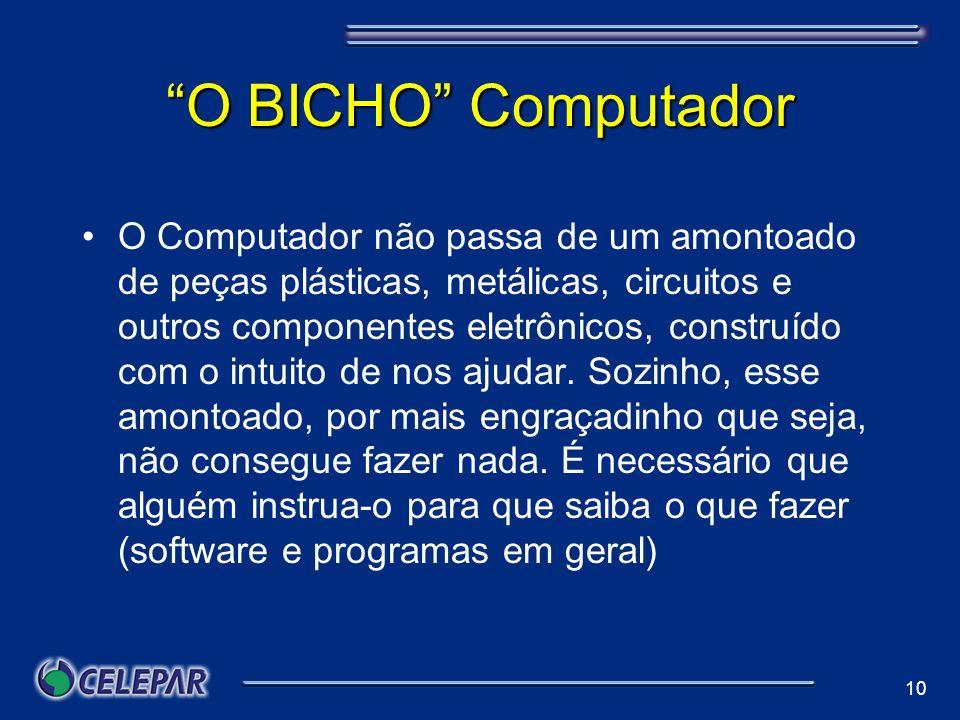 10 O BICHO Computador O Computador não passa de um amontoado de peças plásticas, metálicas, circuitos e outros componentes eletrônicos, construído com