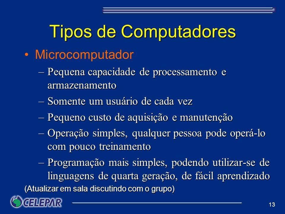 13 Tipos de Computadores Microcomputador –Pequena capacidade de processamento e armazenamento –Somente um usuário de cada vez –Pequeno custo de aquisi