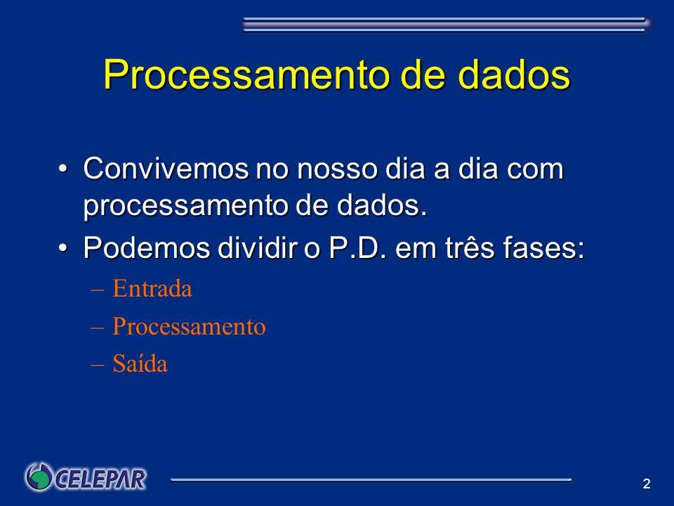 2 Processamento de dados Convivemos no nosso dia a dia com processamento de dados.Convivemos no nosso dia a dia com processamento de dados. Podemos di