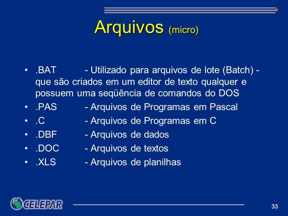 33 Arquivos (micro).BAT - Utilizado para arquivos de lote (Batch) - que são criados em um editor de texto qualquer e possuem uma seqüência de comandos