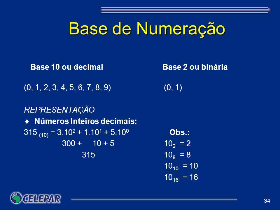 34 Base de Numeração a Base 10 ou decimal Base 2 ou binária se 10 ou decimalBase 2 ou binária (0, 1, 2, 3, 4, 5, 6, 7, 8, 9)(0, 1) REPRESENTAÇÃO Númer