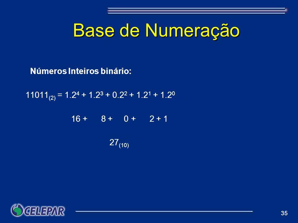 35 Base de Numeração aNúmeros Inteiros binário: 11011 (2) = 1.2 4 + 1.2 3 + 0.2 2 + 1.2 1 + 1.2 0 16 + 8 + 0 + 2 + 1 27 (10)