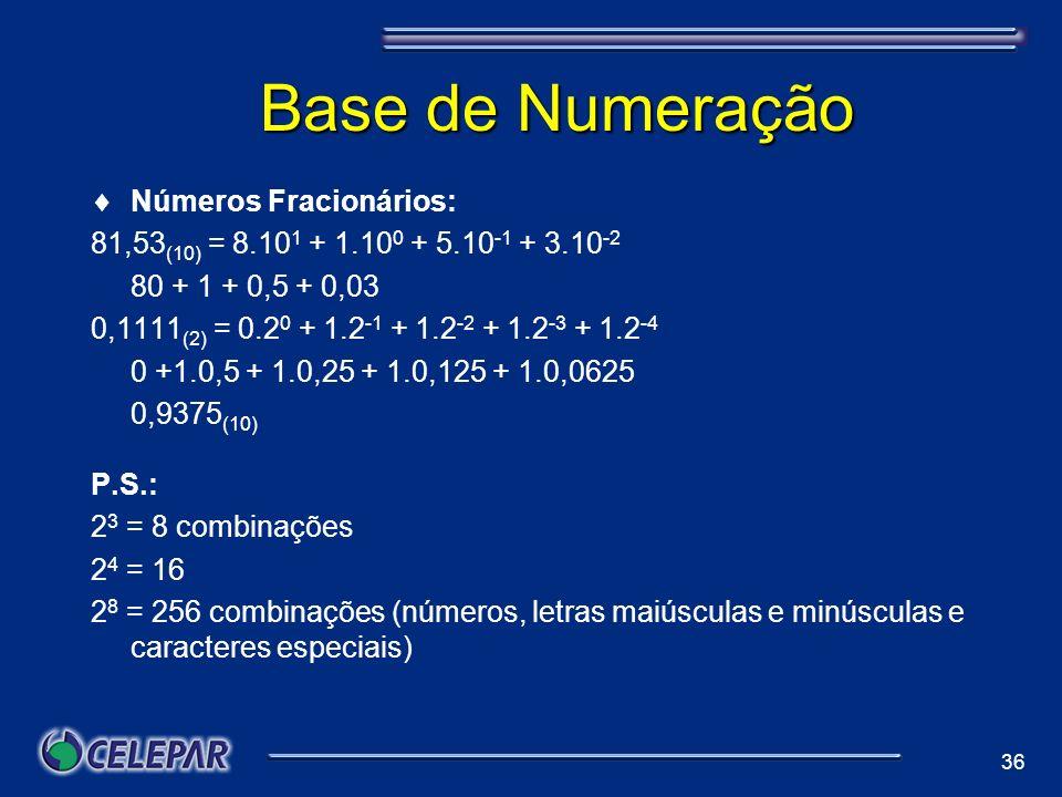 36 Base de Numeração Números Fracionários: 81,53 (10) = 8.10 1 + 1.10 0 + 5.10 -1 + 3.10 -2 80 + 1 + 0,5 + 0,03 0,1111 (2) = 0.2 0 + 1.2 -1 + 1.2 -2 +
