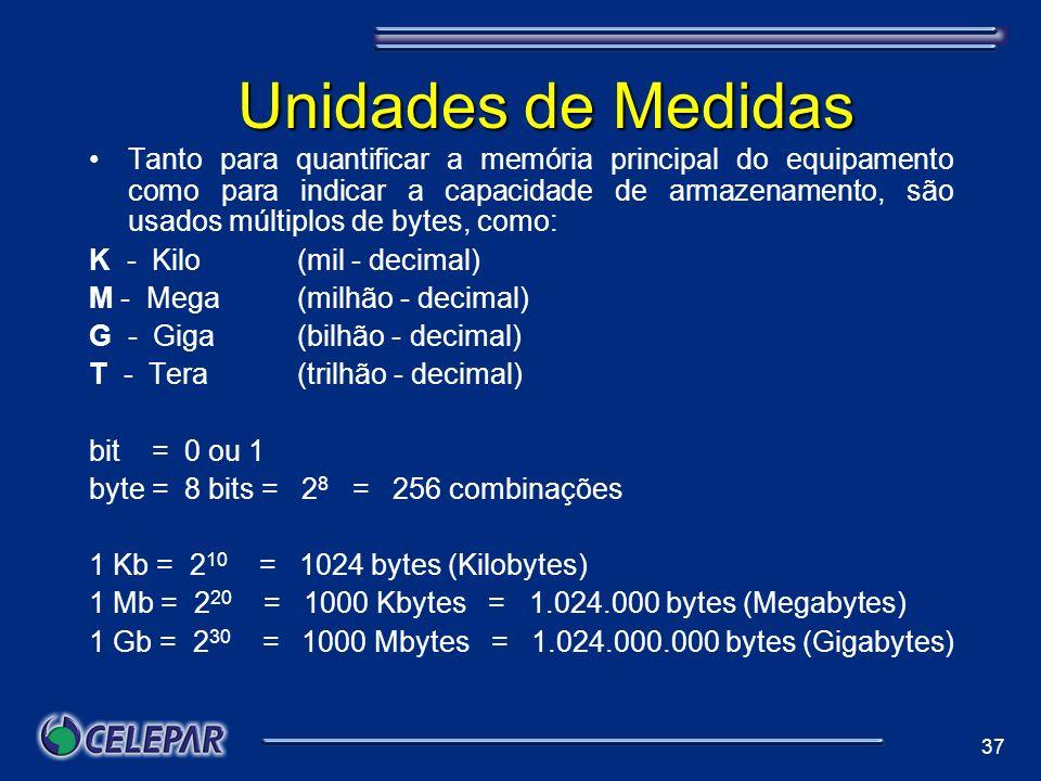 37 Unidades de Medidas Tanto para quantificar a memória principal do equipamento como para indicar a capacidade de armazenamento, são usados múltiplos