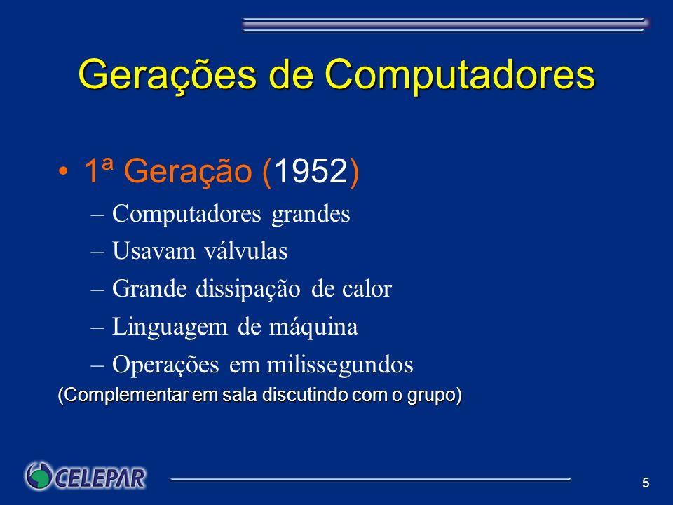 6 Gerações de Computadores 2ª Geração (1959) –Usavam transístores –Diminui o problema com o calor –Comandos abreviados - mneumônicos –Operações em milionésimos de segundo.