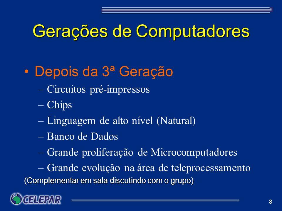 8 Gerações de Computadores Depois da 3ª Geração –Circuitos pré-impressos –Chips –Linguagem de alto nível (Natural) –Banco de Dados –Grande proliferaçã