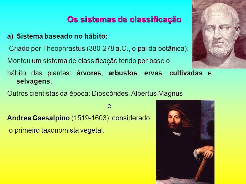 Os sistemas de classificação a)Sistema baseado no hábito: Criado por Theophrastus (380-278 a.C., o pai da botânica): Montou um sistema de classificaçã