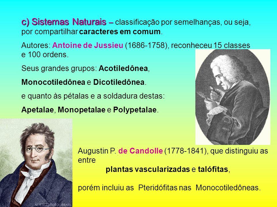 c) Sistemas Naturais – c) Sistemas Naturais – classificação por semelhanças, ou seja, por compartilhar caracteres em comum. Autores: Antoine de Jussie