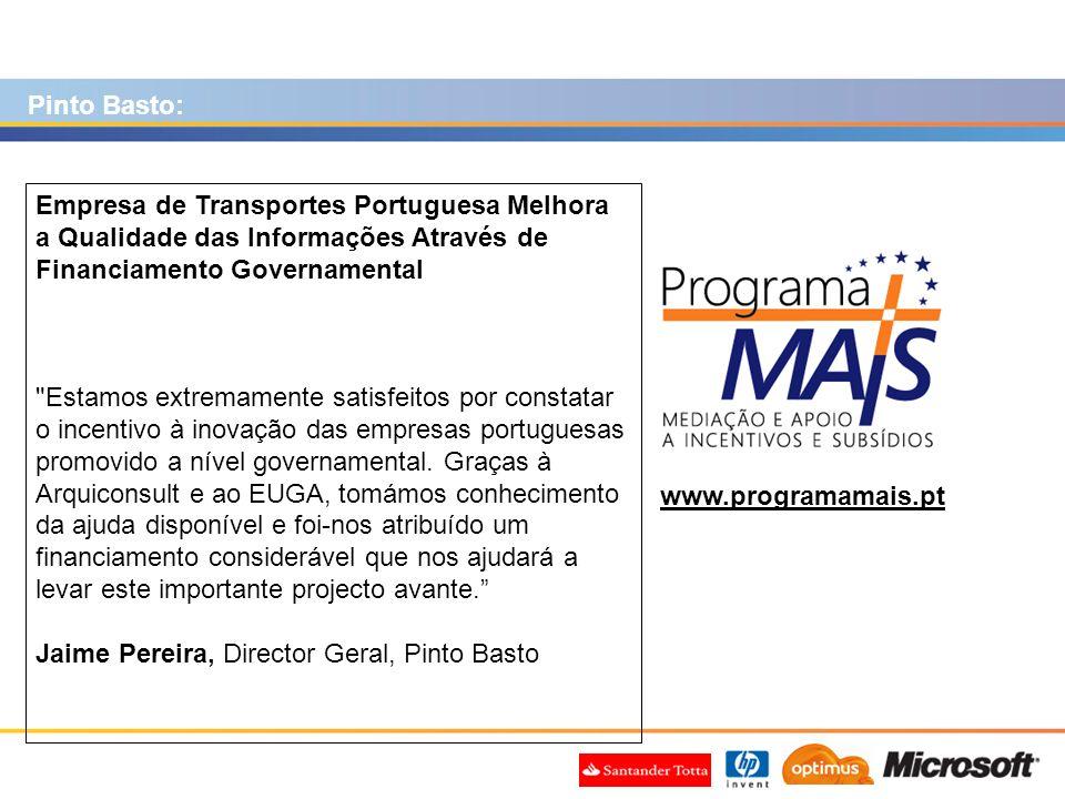 www.programamais.pt Empresa de Transportes Portuguesa Melhora a Qualidade das Informações Através de Financiamento Governamental