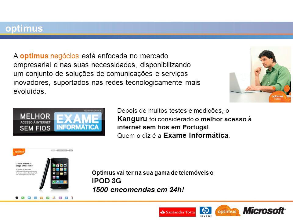 optimus A optimus negócios está enfocada no mercado empresarial e nas suas necessidades, disponibilizando um conjunto de soluções de comunicações e se