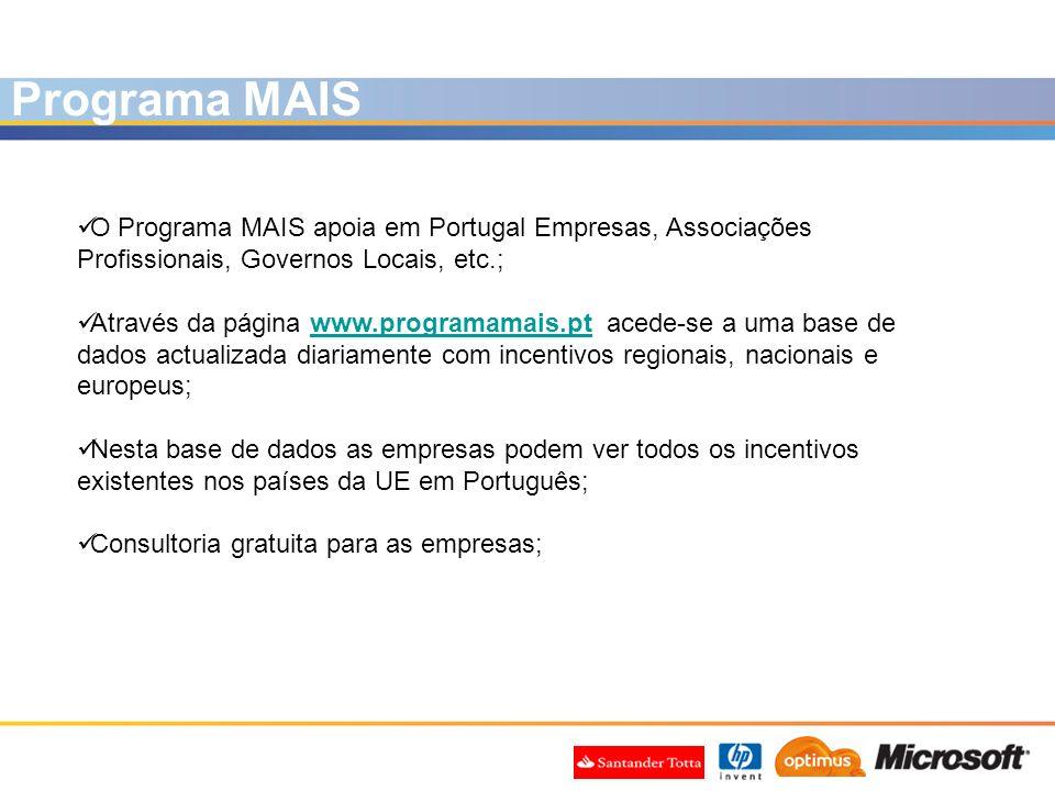 O Programa MAIS apoia em Portugal Empresas, Associações Profissionais, Governos Locais, etc.; Através da página www.programamais.pt acede-se a uma bas