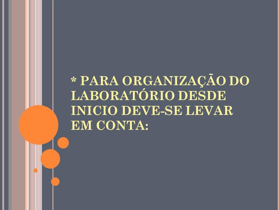 * PARA ORGANIZAÇÃO DO LABORATÓRIO DESDE INICIO DEVE-SE LEVAR EM CONTA: