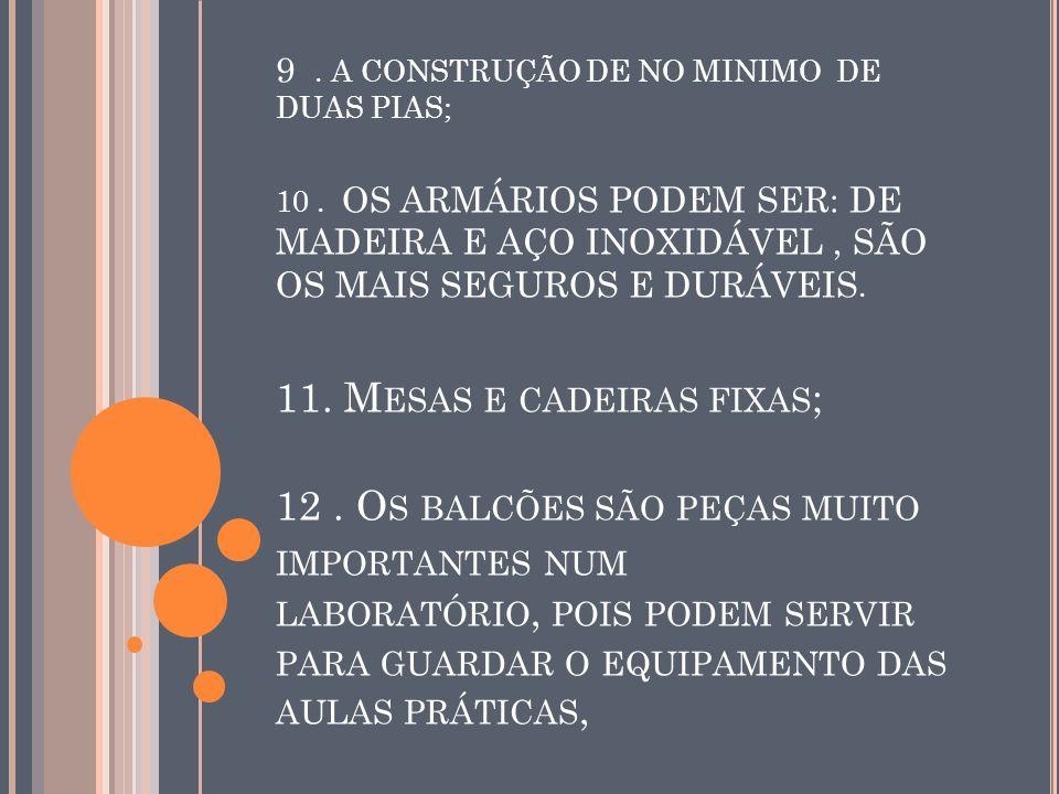 9. A CONSTRUÇÃO DE NO MINIMO DE DUAS PIAS; 10. OS ARMÁRIOS PODEM SER: DE MADEIRA E AÇO INOXIDÁVEL, SÃO OS MAIS SEGUROS E DURÁVEIS. 11. M ESAS E CADEIR