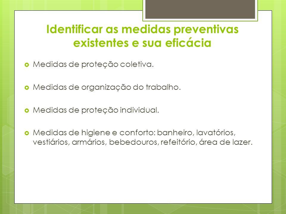 Identificar as medidas preventivas existentes e sua eficácia Medidas de proteção coletiva. Medidas de organização do trabalho. Medidas de proteção ind