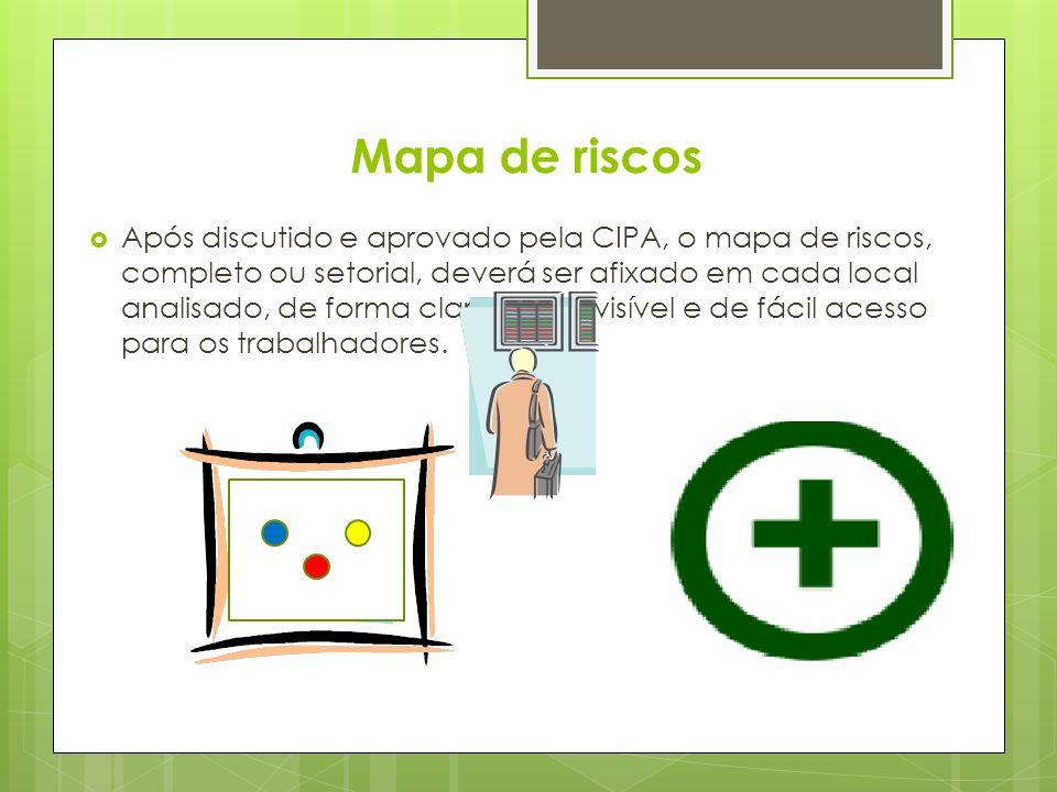 Mapa de riscos Após discutido e aprovado pela CIPA, o mapa de riscos, completo ou setorial, deverá ser afixado em cada local analisado, de forma clara