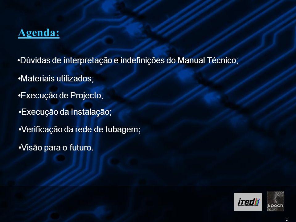 2 Agenda: Dúvidas de interpretação e indefinições do Manual Técnico; Execução da Instalação; Verificação da rede de tubagem ; Materiais utilizados; Ex