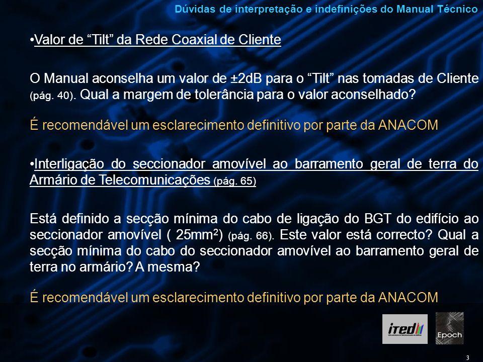 3 Dúvidas de interpretação e indefinições do Manual Técnico Valor de Tilt da Rede Coaxial de Cliente O Manual aconselha um valor de ±2dB para o Tilt n
