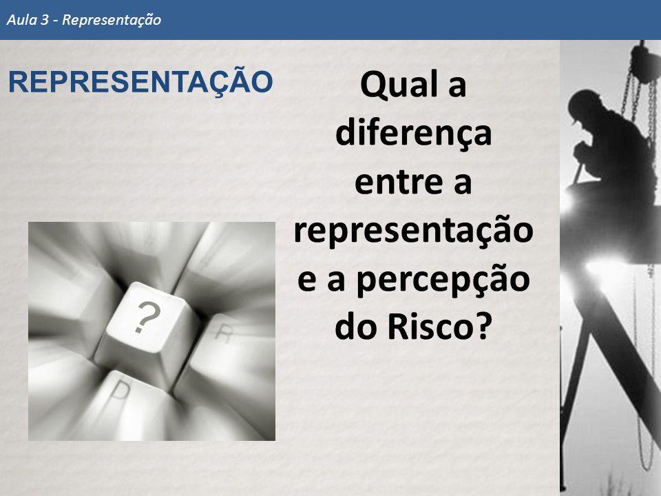 Qual a diferença entre a representação e a percepção do Risco? REPRESENTAÇÃO Aula 3 - Representação