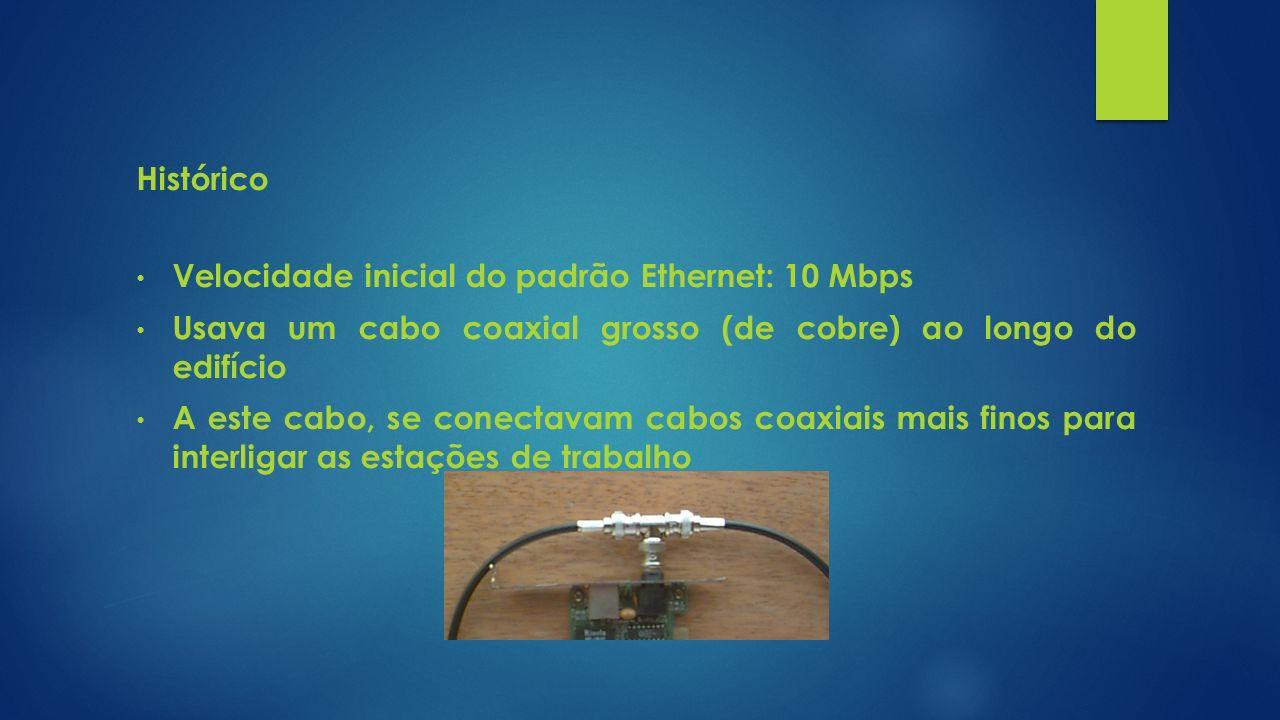 Histórico Velocidade inicial do padrão Ethernet: 10 Mbps Usava um cabo coaxial grosso (de cobre) ao longo do edifício A este cabo, se conectavam cabos