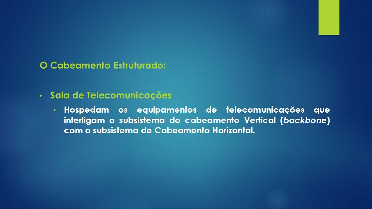 O Cabeamento Estruturado: Sala de Telecomunicações Hospedam os equipamentos de telecomunicações que interligam o subsistema do cabeamento Vertical ( b