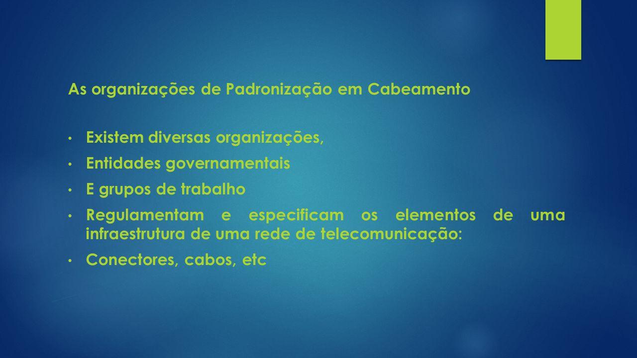 As organizações de Padronização em Cabeamento Existem diversas organizações, Entidades governamentais E grupos de trabalho Regulamentam e especificam