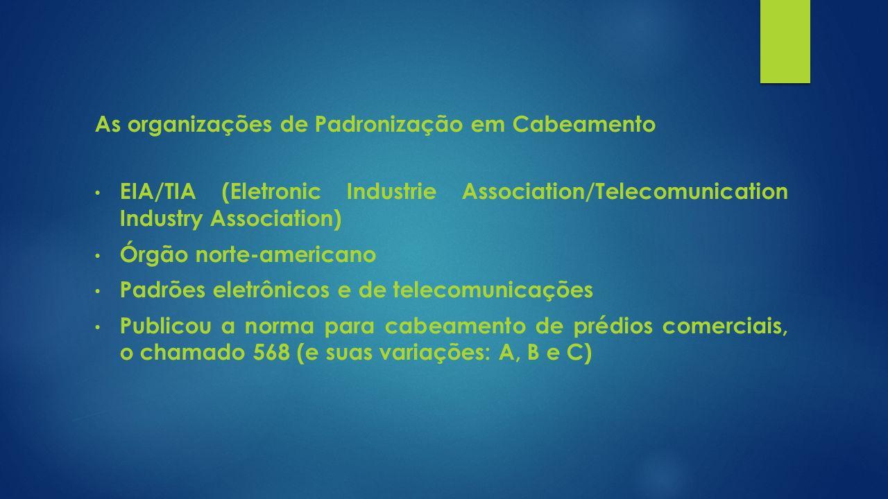 As organizações de Padronização em Cabeamento EIA/TIA (Eletronic Industrie Association/Telecomunication Industry Association) Órgão norte-americano Pa