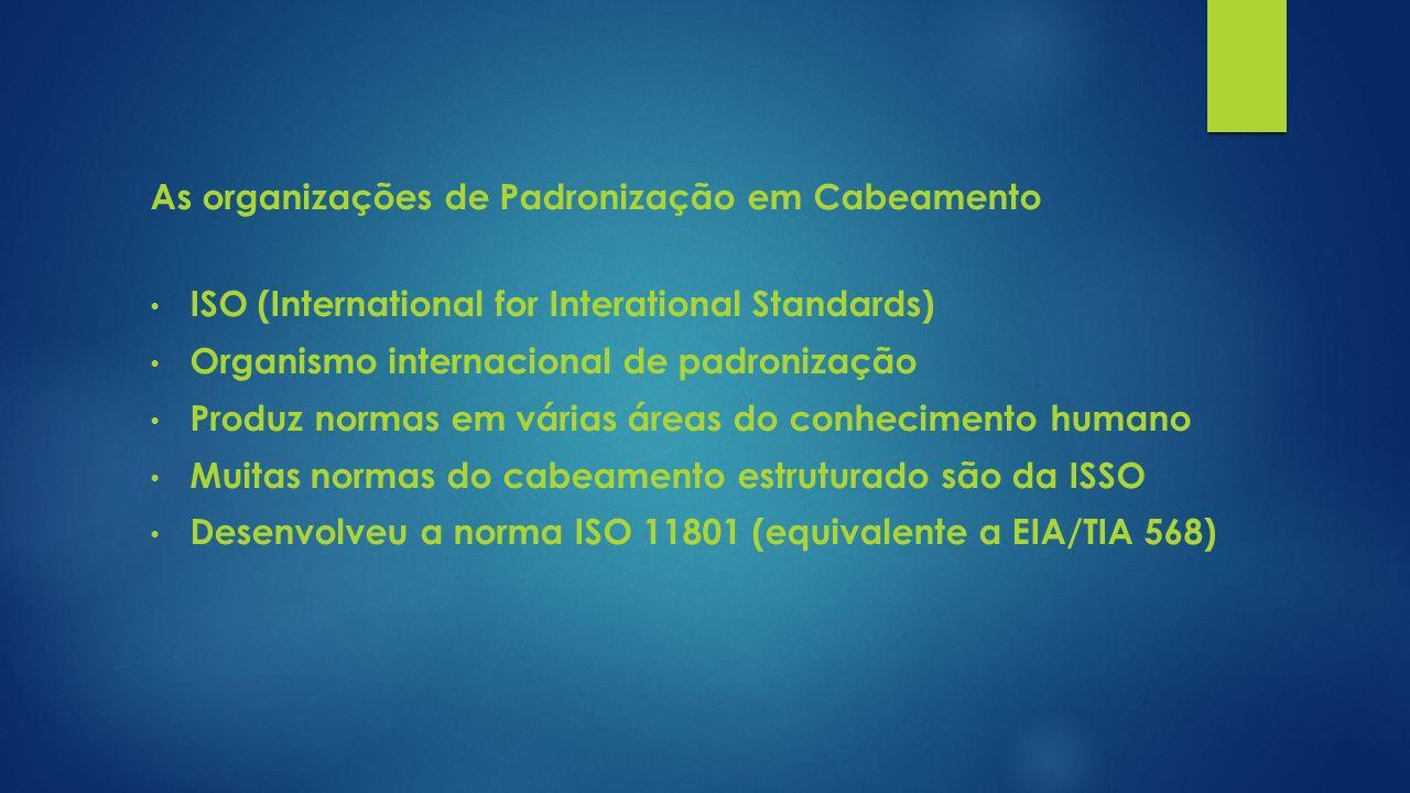 As organizações de Padronização em Cabeamento ISO (International for Interational Standards) Organismo internacional de padronização Produz normas em
