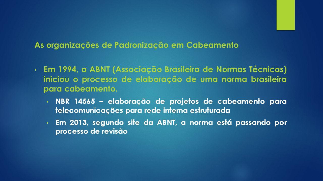 As organizações de Padronização em Cabeamento Em 1994, a ABNT (Associação Brasileira de Normas Técnicas) iniciou o processo de elaboração de uma norma