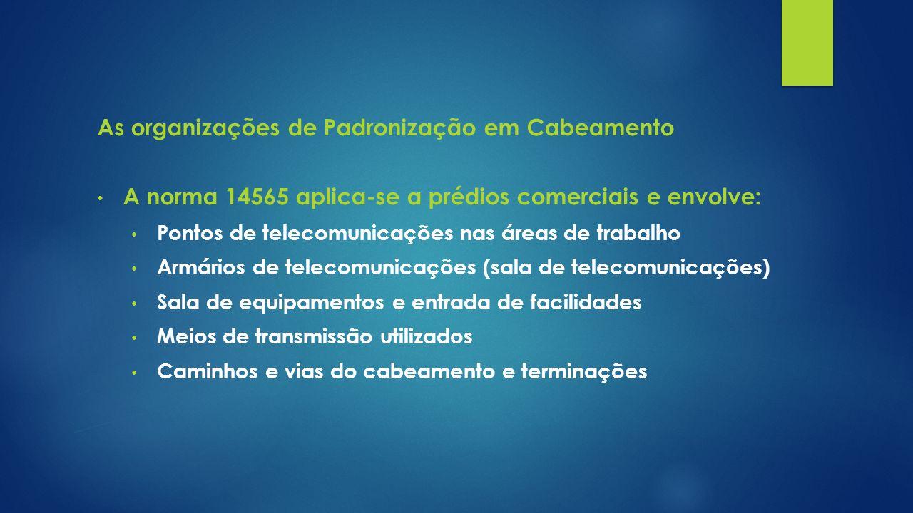 As organizações de Padronização em Cabeamento A norma 14565 aplica-se a prédios comerciais e envolve: Pontos de telecomunicações nas áreas de trabalho