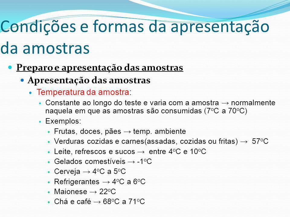 Condições e formas da apresentação da amostras Preparo e apresentação das amostras Apresentação das amostras Temperatura da amostra: Constante ao long
