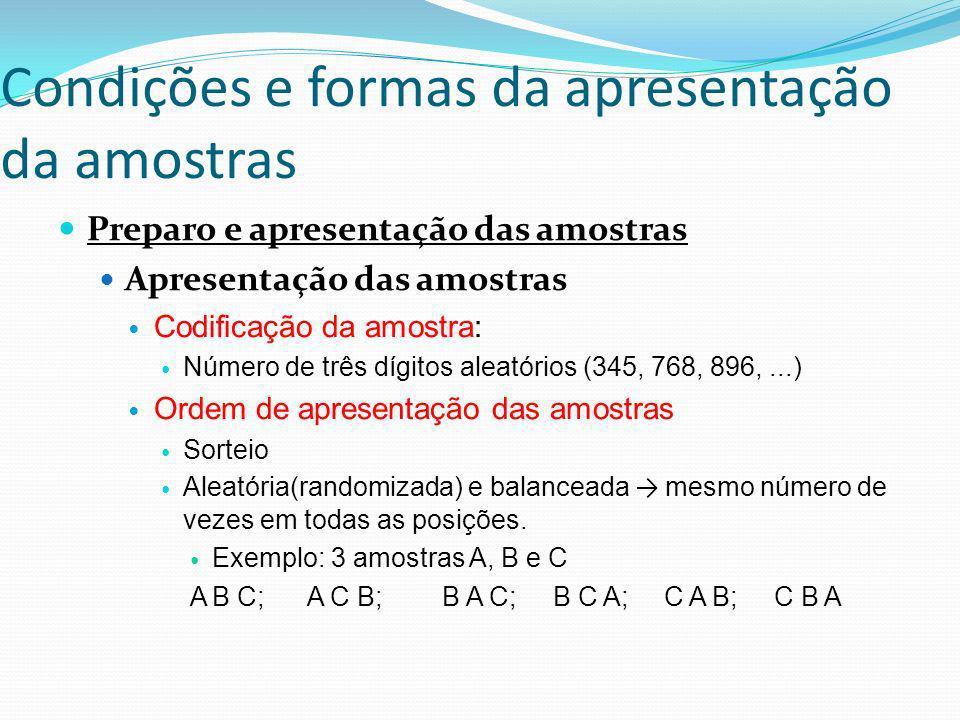 Condições e formas da apresentação da amostras Preparo e apresentação das amostras Apresentação das amostras Codificação da amostra: Número de três dí