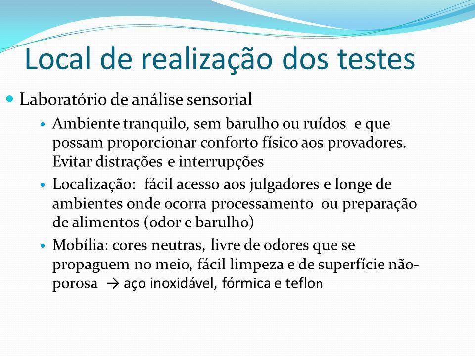 Local de realização dos testes: Laboratório de análise sensorial Lay out dividido em 2 partes : área de preparo e área de condução do teste: Área de preparo: deve ser independente da área de teste.
