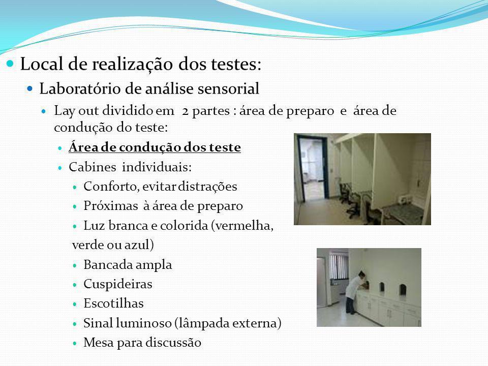 Local de realização dos testes: Laboratório de análise sensorial Lay out dividido em 2 partes : área de preparo e área de condução do teste: Área de c