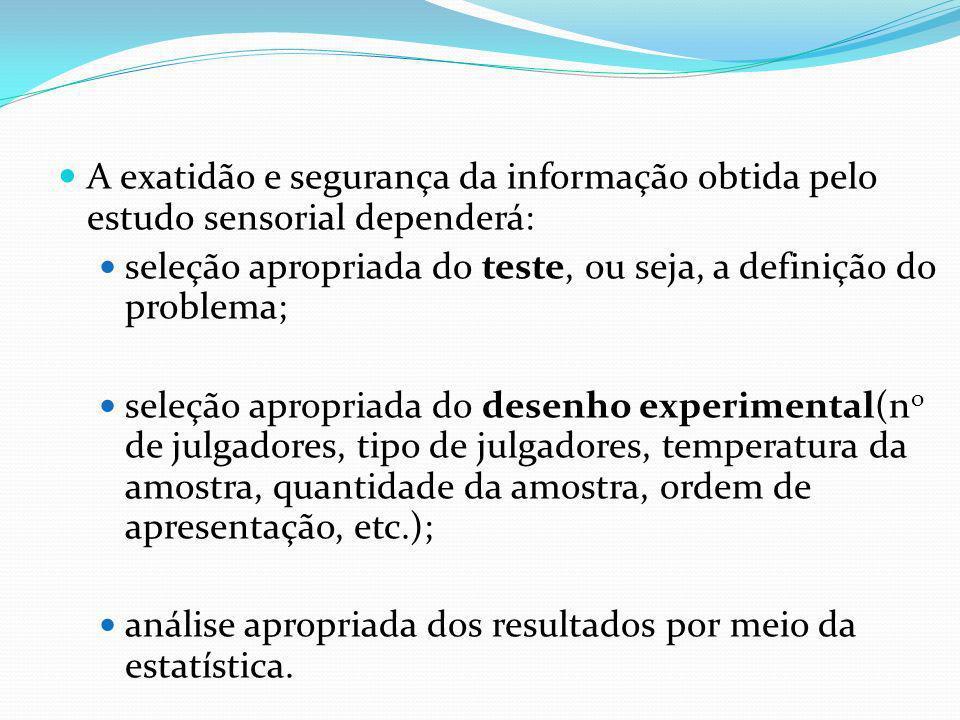 A exatidão e segurança da informação obtida pelo estudo sensorial dependerá: seleção apropriada do teste, ou seja, a definição do problema; seleção ap