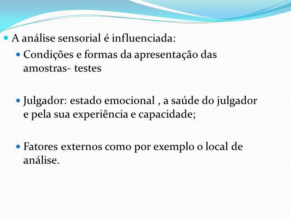 A análise sensorial é influenciada: Condições e formas da apresentação das amostras- testes Julgador: estado emocional, a saúde do julgador e pela sua