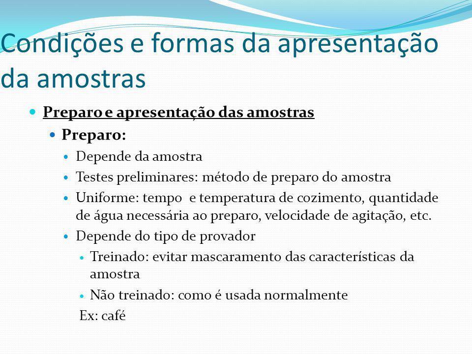 Condições e formas da apresentação da amostras Preparo e apresentação das amostras Preparo: Depende da amostra Testes preliminares: método de preparo
