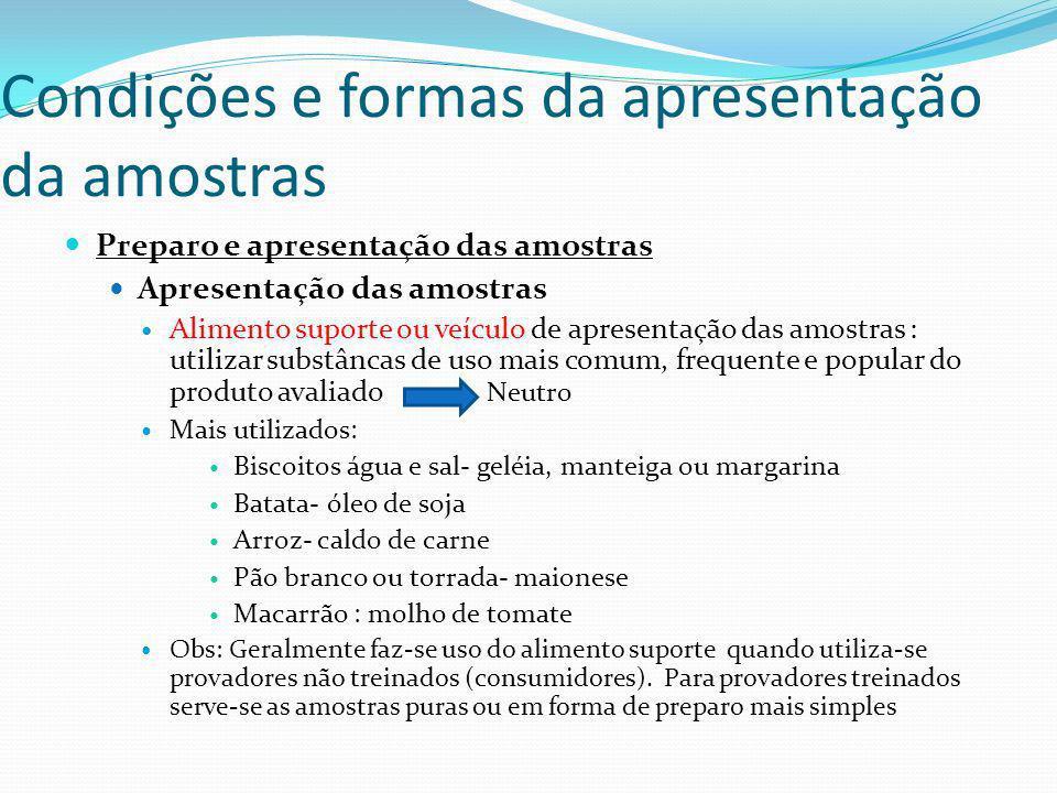 Condições e formas da apresentação da amostras Preparo e apresentação das amostras Apresentação das amostras Alimento suporte ou veículo de apresentaç